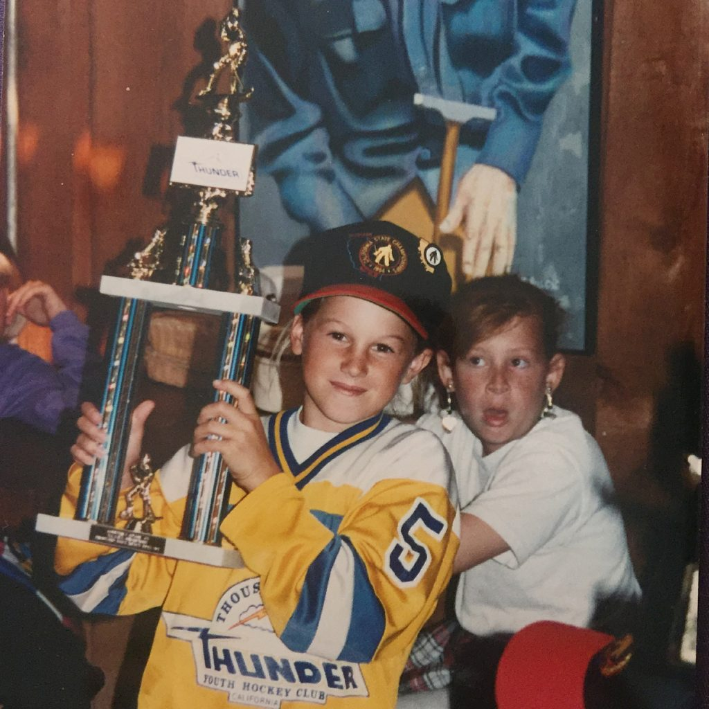 Courtney as a Mite hockey player after winning the California State Championships